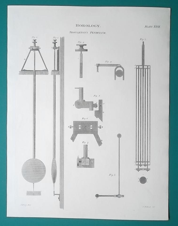 Primary image for HOROLOGY Clocks Troughton's Pendulum - 1815 Antique Print by A. REES