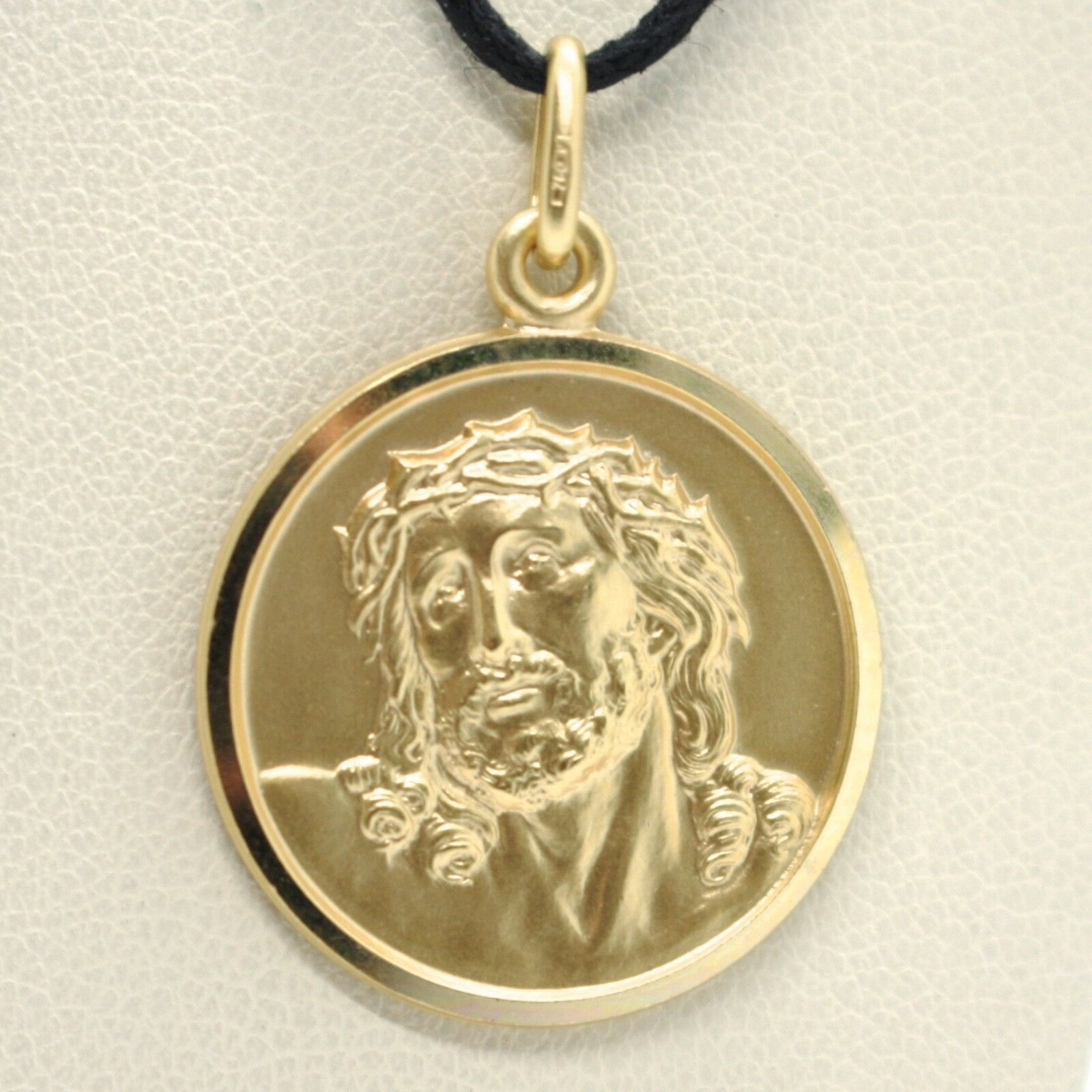 SOLID 18K YELLOW GOLD ECCE HOMO, JESUS CHRIST FACE MEDAL, DETAILED MADE IN ITALY