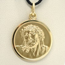 SOLID 18K YELLOW GOLD ECCE HOMO, JESUS CHRIST FACE MEDAL, DETAILED MADE IN ITALY image 1