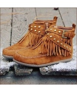 Mountain Moccasins Tassel Fringe Rivet Strap Hand Sewn Clay Color Ankle... - £54.64 GBP