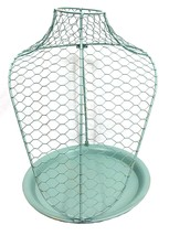 Jewelry Necklace Bust Display Stand w/Tray Metal, Seafoam Green - $21.85