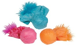 Cat Toys Bright Paper Ball Rattlers Crinkle Feather and Catnip 3 Pack Ro... - £6.22 GBP