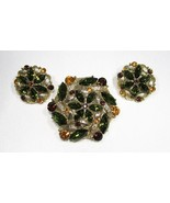 Estate Vintage Dome Green Rhinestone Brooch & Earrings Set C1996 - $30.87