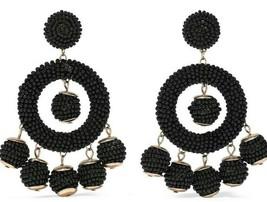 KENNETH JAY LANE Gold tone black beads circle bell back drop dangle earr... - $94.05