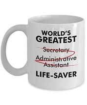World's Greatest Secretary Life Saver Funny Appreciation Gift Idea Mug - $18.52