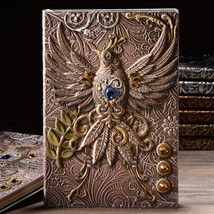 A5 Embossed Leather Travel Journals Vintage Handcraft Embossed Phoenix An - $29.00