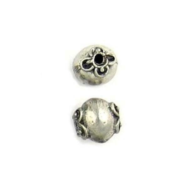 SCROLL ENDCAP DESIGN ROUND FINE PEWTER BEAD - 8x 7.5mm x 7.5mm 1.5mm Hole