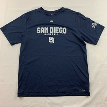 San Diego Padres Majestic Mens Graphic Tee Blue Baseball Crew Neck MLB Tee M L - $19.75