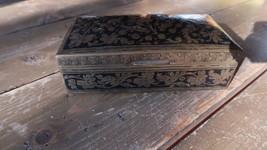 "Antique BRASS Black Enamel Box 6.25"" x 3.5"" x 2"" - $67.31"