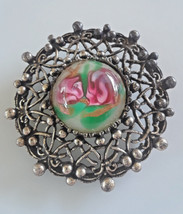 Vintage Art Glass Dome Ornate Silver Tone Setting Brooch - €5,12 EUR
