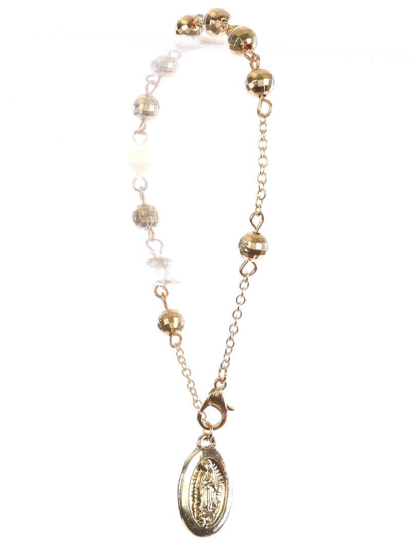 Saint Mary Beads Charm Prayer Bracelet Rosary GoldTone Beads