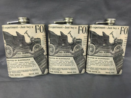 Set of 3 Vintage Car Ads Flask 8oz Stainless Steel Hip Drinking Whiskey - $17.38