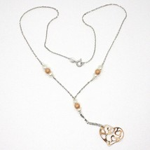 SILVER 925 NECKLACE, PEARLS, HEART PINK PENDANT, MILLED SATIN WAVY image 2