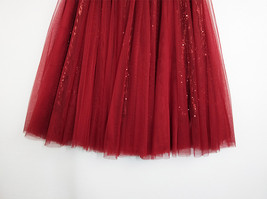 Wine Red Long Tulle Sequin Skirt High Waisted Red Christmas Holiday Skirt Outfit image 9