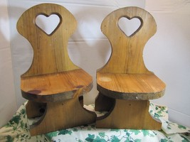 2 VTG WOOD DISPLAY CHAIRS for Doll or Teddy Bear Hand crafted Farm House... - $16.97