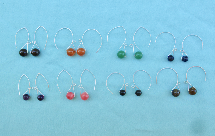 "Sterling Silver ""Trapped Bead"" Earrings, ""Hoop"" style"