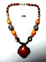 Tibetan India Pendant Necklace Ethnic Look Beaded Tribal Resin Jewelry A... - $17.41