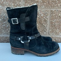 UGG Australia 5604 Endell Boots Black Leather Suede Sheepskin Lined Womens 8 - $56.09