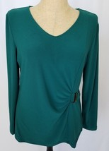 Susan Graver Knit Top Medium Green Metal Accent V-Neck Long Sleeve Stret... - $19.99