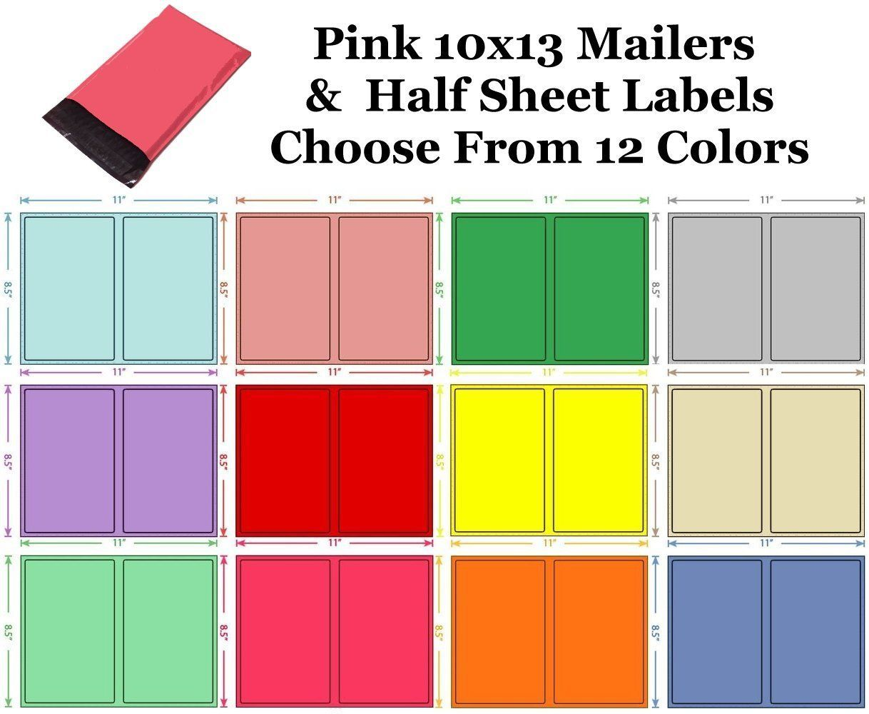 10x13 ( Pink ) Poly Mailers + Colored Half Sheet Self Adhesive Shipping Labels
