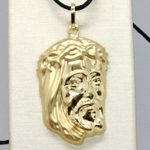 18K YELLOW GOLD JESUS FACE PENDANT CHARM 37 MM, 1.5 IN, FINELY WORKED ITALY MADE image 1