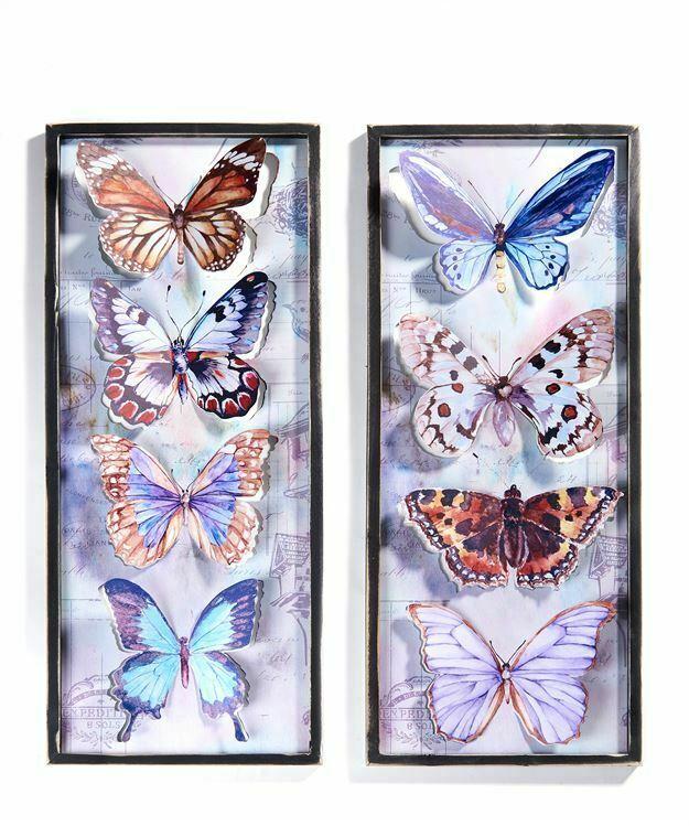 """One 32"""" Rectangular Framed Butterfly Metal Wall Decor Features 4 Butterflies"""