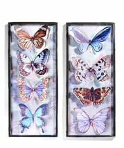 "One 32"" Rectangular Framed Butterfly Metal Wall Decor Features 4 Butterflies"