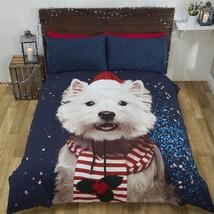 Noël Terrier Écossais Chien Chapeau Écharpe Bleu King Size 4 Pièces Ense... - $67.53
