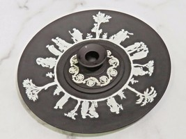 "Black Basalt Wedgwood Jasperware 9"" Plate and 3 5/8"" Candlestick - $47.52"