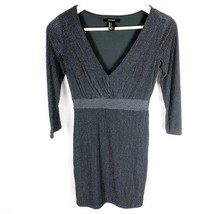 Forever 21 (D2-05) Women's Small Gray Sheath Dress Deep V-Neck Metallic ... - $10.62