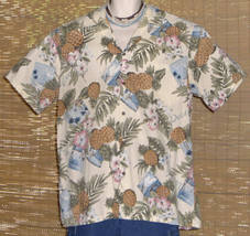 Hilo Hattie Hawaiian Shirt White with Pineapples 1980s 2XL - $24.95