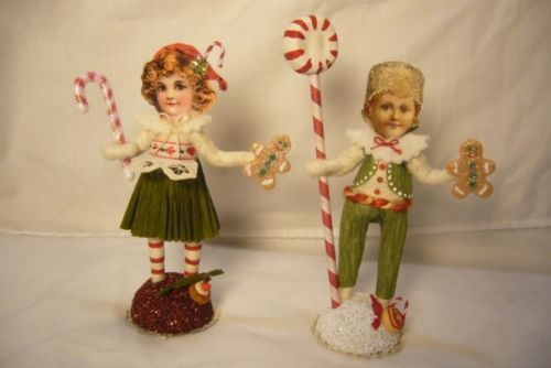 2 Vintage Inspired Spun Cotton, Hansel and Gretal  Xmas