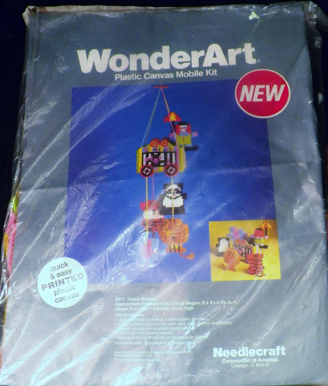Vintage Needlecraft WonderArt Baby Nursery Circus Mobile Plastic Canvas Kit 6011