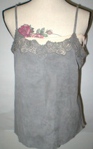 Womens New Ralph Lauren $398 NWT Gray Leather Suede Lace Tank Top Cami N... - $399.00