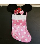 Disney Minnie Mouse Ears 18' Velour Christmas Stocking with Plush Cuff Pink - $17.89