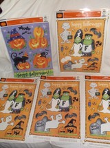 LOT/SET OF 5 SHEETS WINDOW CLINGS HALLOWEEN JACK-O-LANTERN FRANKENSTEIN ... - $4.84