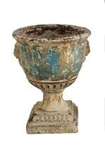 Set/2 Distressed Aqua Herb Garden Flower Pot Lion Face Urn Planter 13'' ... - $237.60
