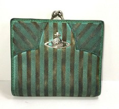 Vivienne Westwood Small Green Striped Suede Leather Wallet – Distressed - $93.11