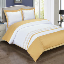 Luxury 3pc Amalia Gold Embroidered Cotton Duvet Cover Bedding Set - ALL ... - $75.99+