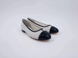 100% Authentic Chanel White Black Ballet Flats Slip On CC Logo Shoes 37C