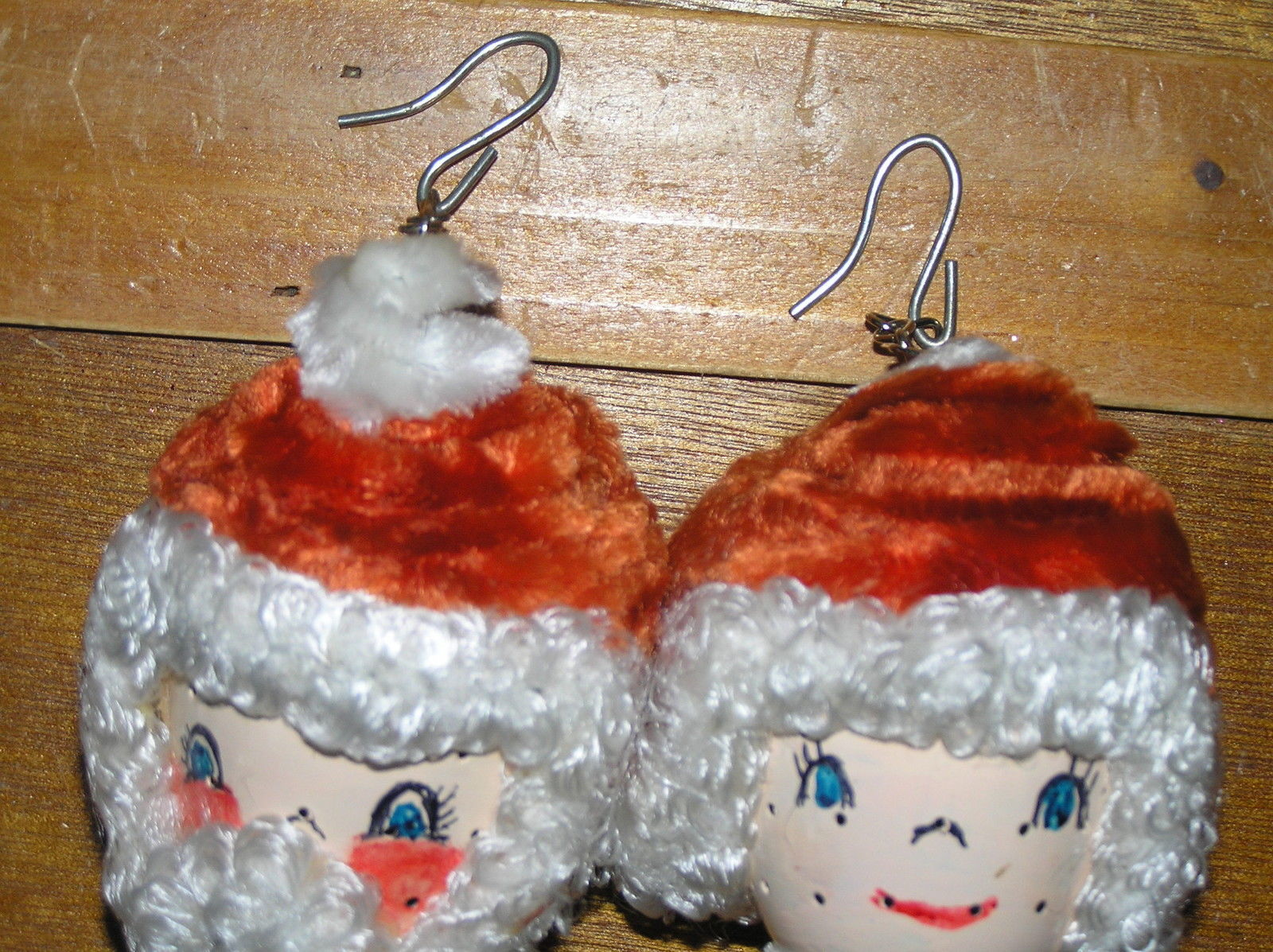 Vintage Lot of Handmade Curly Haired Mr. & Mrs. Santa Claus Head Christmas Tree
