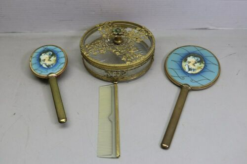 Vintage 4 Piece Vanity Set Gold Tone Trinket Jewelry Box Comb Brush Mirror