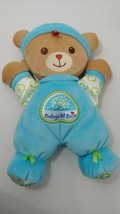 Fisher Price Baby's 1st bear first teddy blue Rattle Plush green circles  - $9.89