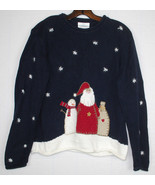 Ugly Christmas Sweater Holiday Wear Hand Embroidered M Santa Snowmen Vin... - $24.70
