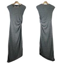TOPSHOP Asymmetric Hem Sheath Dress Sz 2 Gray Ruched Side NWT - $32.71