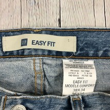Gap Men's Easy Fit Jeans Light Wash 5 Pocket 100% Cotton Size 38x34 - $28.87