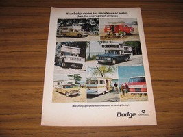 1968 Print Ad Dodge Trucks Motor Homes, Campers, Vans, Camping - $13.96