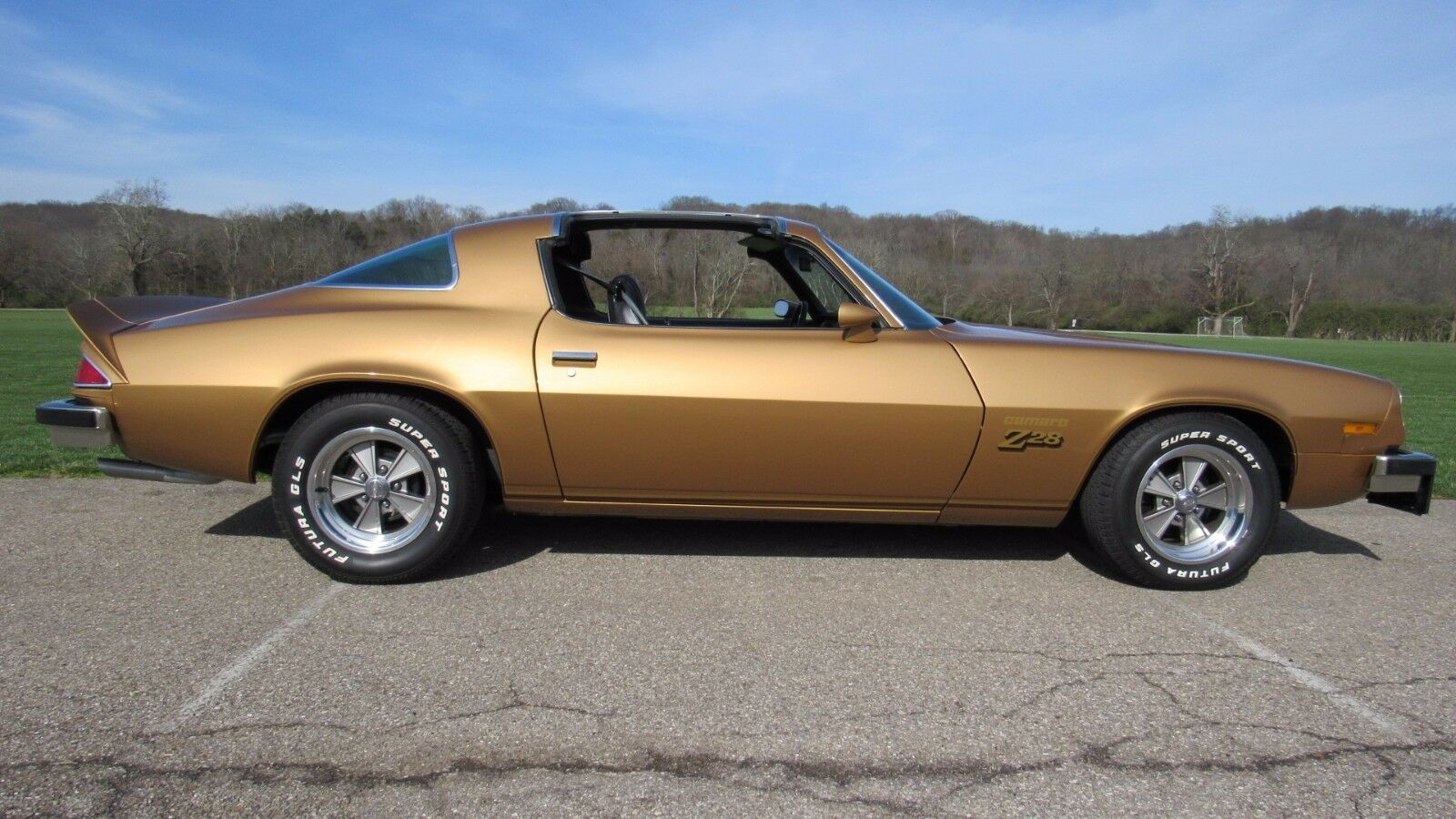 Primary image for 1977 Chevrolet Camaro Z28 gold t-tops | 24 x 36 INCH POSTER  | sports car