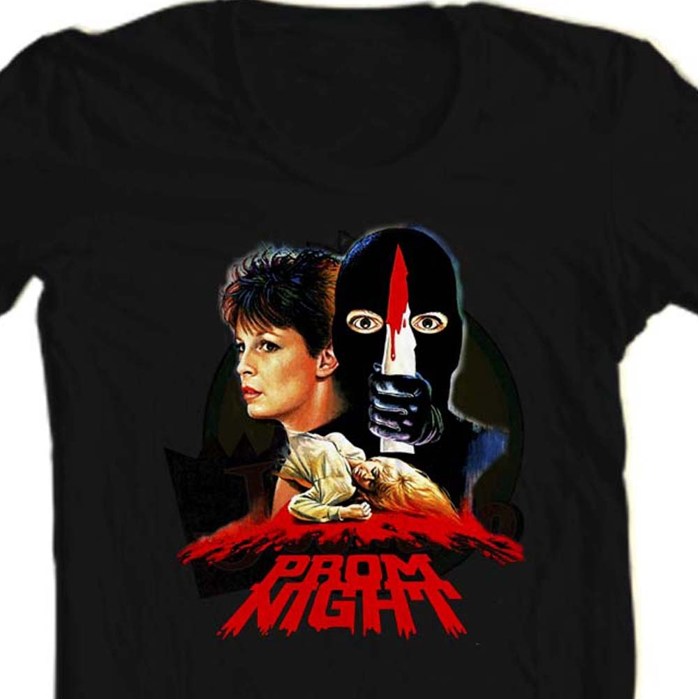Prom Night black T shirt Jamie Lee Curtis retro horror movie graphic tee