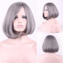 Custom Natural Gray Short Bob Cut Synthetic Women Full hair wig + long side bang - $31.99